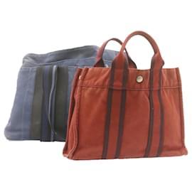 Hermès-HERMES Fourre Tout Hand Tote Bag 2Set Red Blue Canvas Auth se077-Red,Blue