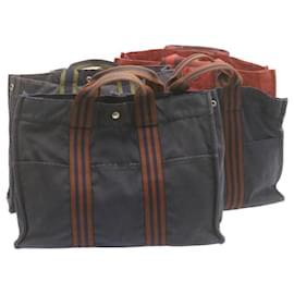 Hermès-HERMES cabas MM Sac à main Rouge Noir Marine 4Set Canvas Auth yk1593-Noir,Rouge,Bleu Marine