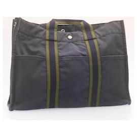 Hermès-HERMES Fourre Tout MM Hand Bag Red Black Navy 4Set Canvas Auth yk1593-Black,Red,Navy blue