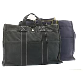 Hermès-Sac cabas HERMES cabas GM MM 2Ensemble Marine Coton Noir Auth se113-Noir