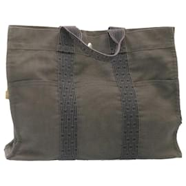Hermès-HERMES Her Line Fourre Tout PM MM Hand Bag 4Set Cotton Auth se114-Black,Khaki,Navy blue