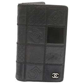Chanel-CHANEL Icon Long Wallet Leather Black CC Auth th1577-Black