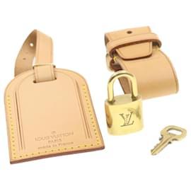 Louis Vuitton-LOUIS VUITTON Porte-nom en cuir Powanie Padlock Set Beige LV Auth 18706-Beige,Doré