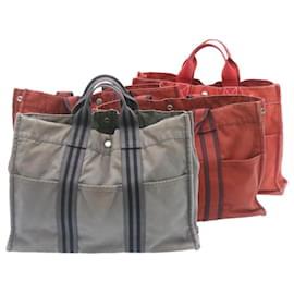 Hermès-HERMES cabas MM Sac à main Portefeuille 4Ensemble Gris Rouge Coton Auth se136-Rouge,Gris