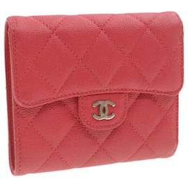 Chanel-CHANEL Caviar Skin Matelasse Wallet Pink Red CC Auth 18734-Pink