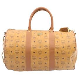 MCM-MCM 2Way Boston Bag PVC Leather Brown Auth th1600-Brown