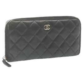 Chanel-CHANEL Lamb Skin Matelasse Around Zip Long Wallet Black Pink LV Auth se139-Black
