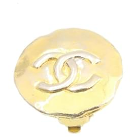 Chanel-CHANEL CC Logo Clip on Earring Gold Tone CC Auth ar4431-Golden