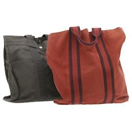 Hermès-HERMES Her Line cabas Sac à main 2Set Toile Gris Rouge Auth 19099-Rouge,Gris