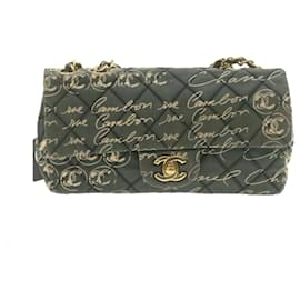 Chanel-CHANEL Lamb Skin Matelasse Chain Shoulder Pouch Green Canvas CC Auth 21757-Green