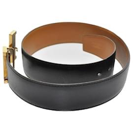 Hermès-Ceinture en cuir HERMES Constance Big H Buckle Noir 79cm Auth ar1771-Noir