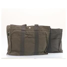 Hermès-HERMES Her Line MM Hand Bag Canvas Gray 2Set Auth yk1698-Grey
