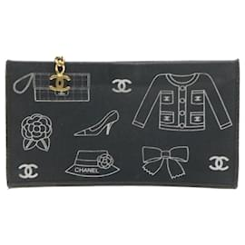 Chanel-CHANEL Canvas Pouch Black Auth 20150-Black
