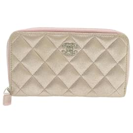 Chanel-CHANEL Matelasse Long Wallet Pink Leather CC Auth ar2848-Golden