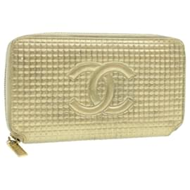 Chanel-CHANEL Choco Bar Long Wallet Gold Leather CC Auth ar2850-Golden