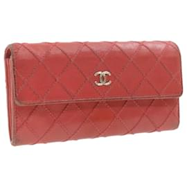 Chanel-CHANEL Lamb Skin Wild Stitch Long Wallet Red CC Auth 20227-Red
