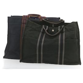 Hermès-Toile HERMES cabas 2set Sac à main Noir Auth 20286-Noir