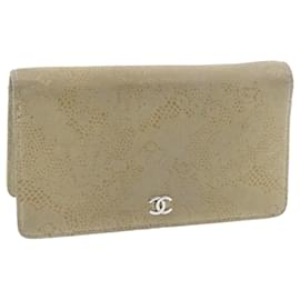 Chanel-CHANEL Suede Long Wallet Beige CC Auth 20308-Beige