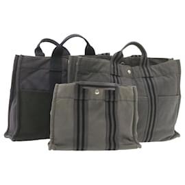 Hermès-Sac à main HERMES cabas PM MM Gris Noir 3Set Cotton Auth ar3435-Noir,Gris