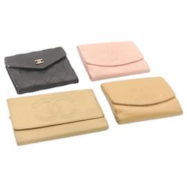 Chanel-CHANEL Matelasse Caviar Skin Wallet Leather 4Set Auth yk1809-Black,Pink,Beige