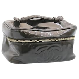 Chanel-CHANEL Vanity Cosmetic Pouch Hand Bag Black Patent Leather CC Auth ar4177-Black