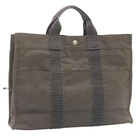 Hermès-HERMES Her Line MM Hand Bag Canvas Gray Auth 23428-Grey