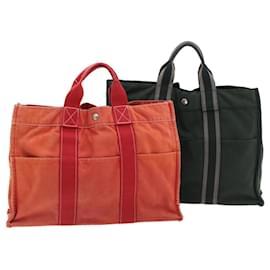 Hermès-HERMES Fourre Tout MM Hand Bag Pouch 2Set Red Black Cotton Auth th513-Black,Red
