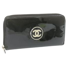 Chanel-CHANEL Round Zip Long Wallet Black Patent Leather Auth ar4277-Black