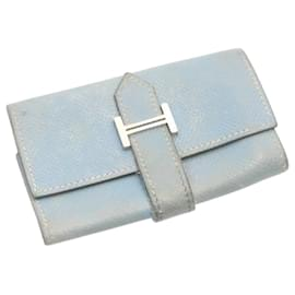 Hermès-HERMES Leather Key Case Light Blue Auth 22449-Light blue