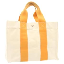 Hermès-HERMES Bora Bora PM Tote Bag Orange Beige Coton Auth ar4282-Orange