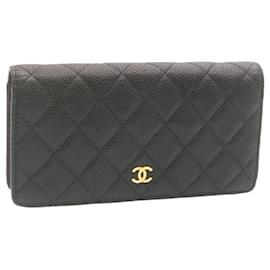 Chanel-CHANEL Matelasse Caviar Skin Long Wallet Black CC Leather Auth 23356-Black