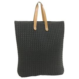 Hermès-HERMES Tote Bag Cotton Leather Auth yk1458-Black