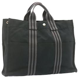 Hermès-HERMES cabas MM Sac à main Noir Coton Auth ar4310-Noir