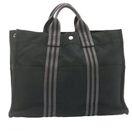 Hermès-HERMES Fourre Tout MM Hand Bag Black Cotton Auth ar4310-Black