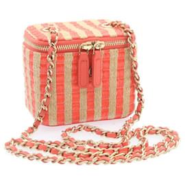 Chanel-CHANEL Hemp Vanity Chain Shoulder Pouch Pink CC Auth 23489-Black