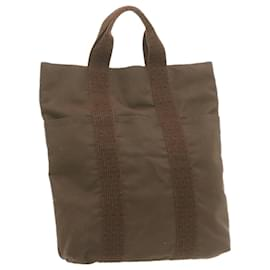 Hermès-HERMES Her Line Hand Bag Canvas Brown Auth hk104-Brown