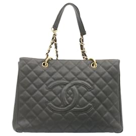 Chanel-CHANEL Caviar Skin Matelasse Chain Tote Bag Black CC Auth 23059-Black