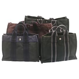 Hermès-Sac à main HERMES cabas PM MM Noir Rouge Marine 4Set Cotton Auth ar4361-Noir,Rouge,Bleu Marine