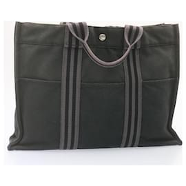 Hermès-HERMES Fourre Tout PM MM Hand Bag Black Red Navy 4Set Cotton Auth ar4361-Black,Red,Navy blue