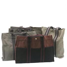 Hermès-HERMES cabas Her Line Sac à main Noir Gris Rouge 4Set Cotton Auth ar4200-Noir,Rouge,Gris