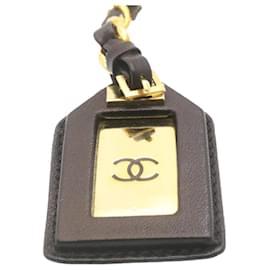 Chanel-CHANEL Key Ring Charm Black Gold Tone CC Auth ar4202-Black