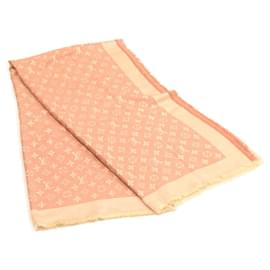 Louis Vuitton-LOUIS VUITTON Monogram Shawl Stole Scarf Wool Silk Pink LV Auth 23066-Pink