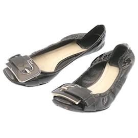 Christian Dior-CHRISTIAN DIOR Lady's Shoes Black Enamel Auth ar4205-Black