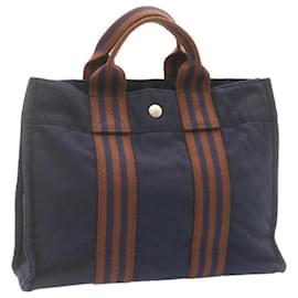 Hermès-HERMES Fourre Tout PM Hand Bag Navy Cotton Auth 23543-Navy blue