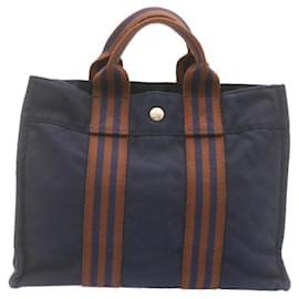 Hermès-HERMES cabas PM Sac à main Marine Coton Auth 23543-Bleu Marine