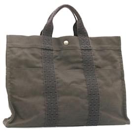 Hermès-HERMES Her Line MM Hand Bag Canvas Gray Auth ki797-Grey