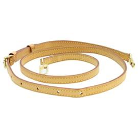 Louis Vuitton-Bandoulière ajustable en cuir LOUIS VUITTON 100-118cm LV Auth 14456-Marron