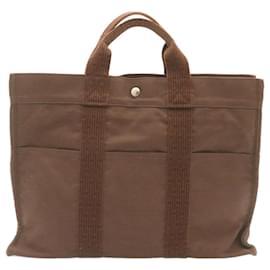 Hermès-HERMES Her Line MM Hand Bag Canvas Brown Auth ki823-Brown