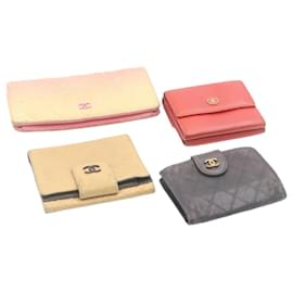 Chanel-CHANEL Matelasse Coco Button Wallet Leather 4Set Auth fm446-Black,Pink,Red,Beige