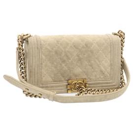Chanel-CHANEL Boy Chanel Chain Shoulder Bag Beige Suede CC Auth 23649-Beige